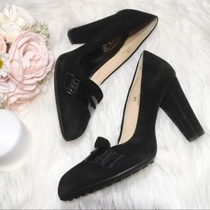 Tod's Black Suede Leather Penny Loafer Pumps 8